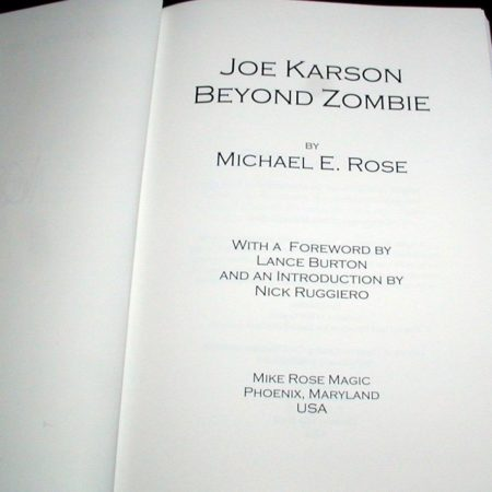 Joe Karson - Beyond Zombie by Michael Rose