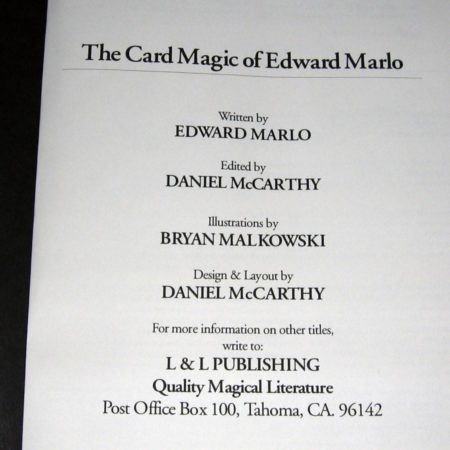 Card Magic of Edward Marlo, The by Ed Marlo