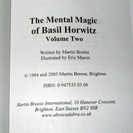 Mental Magick of Basil Horwitz, Vol 2. by Martin Breese